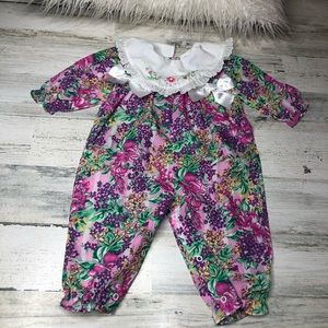 Vintage Baby Onesie girls flowers bows size 6/9